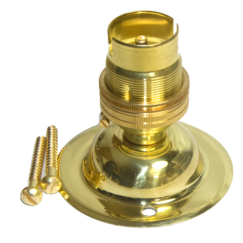 Solid Brass Ceiling Rose and Lamp Holder Polished Brass or Antique Finish