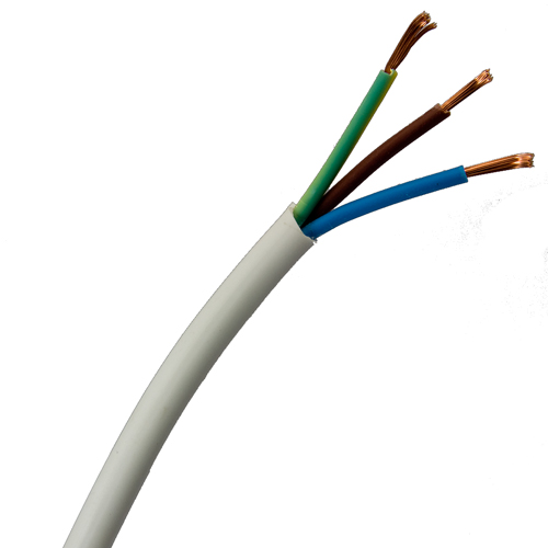 0.75mm 3 core White PVC Flexible Cable 2183Y
