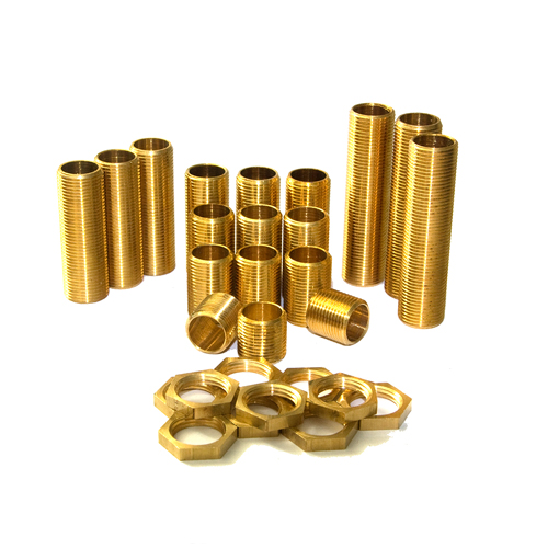 1/2'' Solid Brass All thread Nipples Assorted Pack Small
