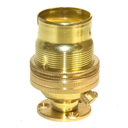 10mm Entry Solid Brass Finish BC Lampholder c/w Fixing Plate