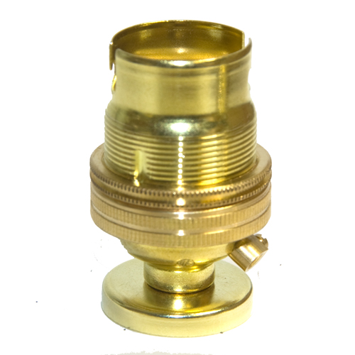 10mm Entry Solid Brass Finish BC Lampholder c/w Fixing Plate & Cover