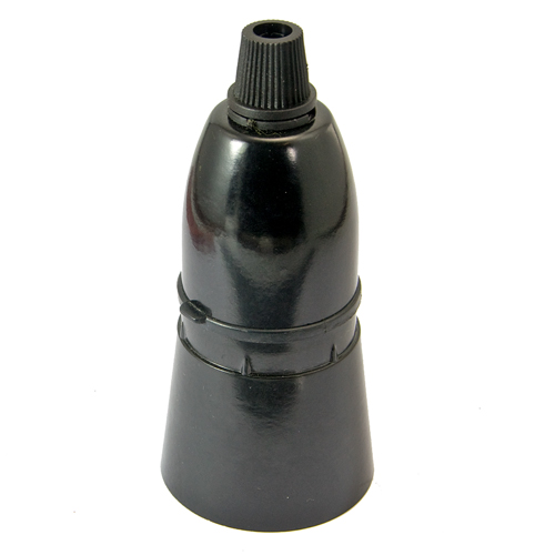 Black Plastic Skirted BC B22 Lampholder c/w Cordgrip Entry Non-earthed