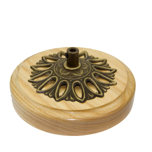 Custom Made Hardwood Ash Ceiling Rose c/w Solid Brass Cordgrip Cover