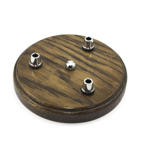 Hardwood Oak 3 x Flex Drop Pattress c/w Solid Brass Chrome Plated Cordgrips and Bracket