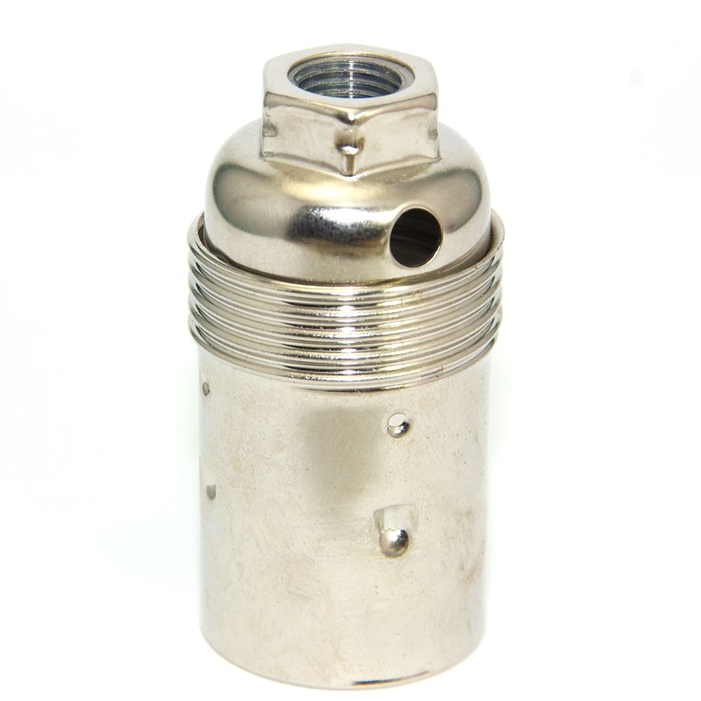 Quality Nickel Plated Plain SES (E14) Candle Lampholder 10mm entry