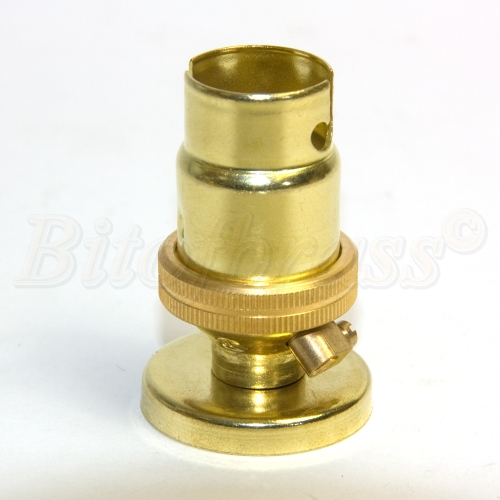 Quality Solid Brass SBC (B15) Candle Lampholder Plain Skirt 10mm Entry c/w Base & Cover