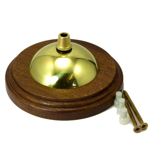 Sapele Pattress Cordgrip Ceiling Plate Assembly Solid Brass Polished Finish