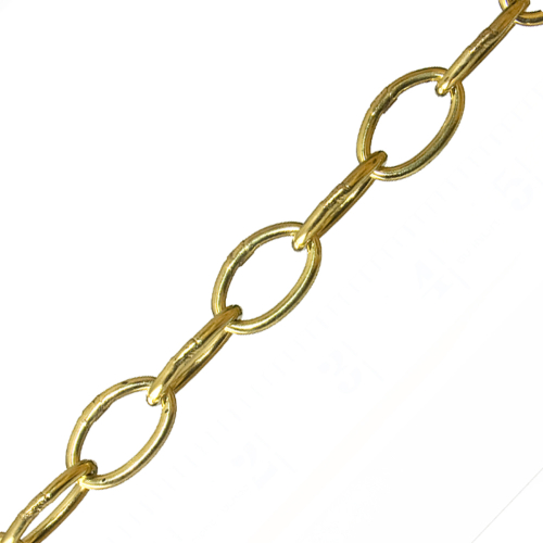 "SLIGHTLY TARNISHED 1 "" Welded Link Chain Brass Plated Steel 50kg Maximun Load PRICE  PER METRE"
