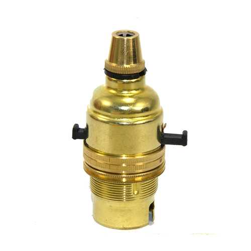 Solid Brass 10mm Switched Lampholder c/w Cordgrip