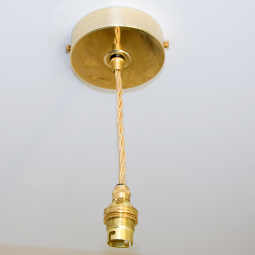 Solid Brass Ceiling Rose Flex Drop BC Fit Suspension DIY Kit 1/2 Metre